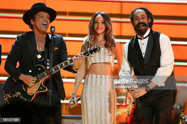 Singers Bruno Mars Rihanna and Damian Marley perform onstage during the 55th Annual GRAMMY Awards at STAPLES Center on February 10 2013 in Los...