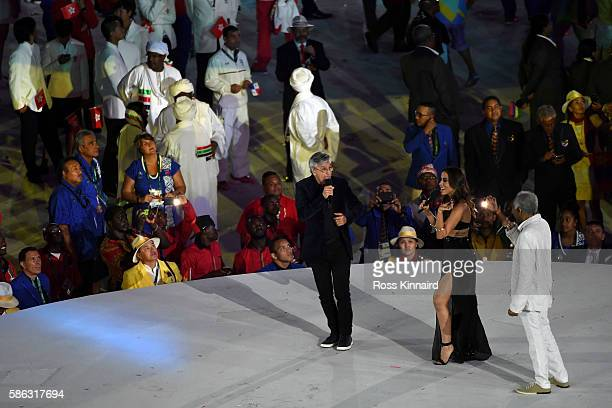 Singers Caetano Veloso Anitta and Gilberto Gil perform during the Opening Ceremony of the Rio 2016 Olympic Games at Maracana Stadium on August 5 2016...