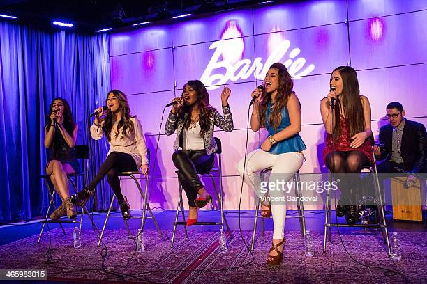 Singers Camila Cabello Ally Brooke Normani Kordei Dinah Jane Hansen and Lauren Jauregui of Fifth Harmony attend the Fifth Harmony Press Conference at...