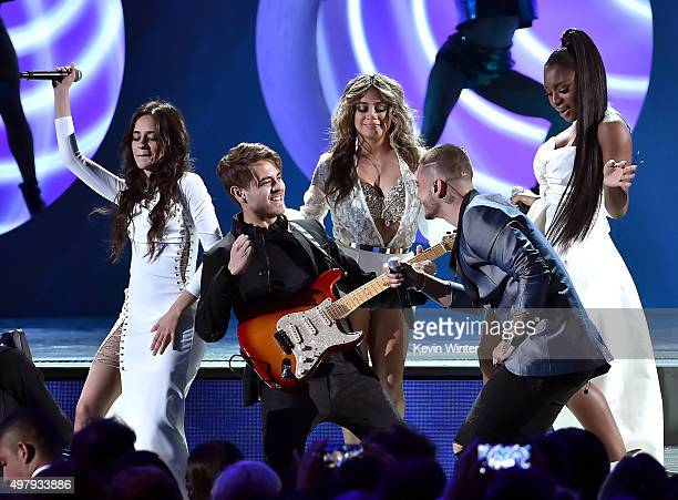 Singers Camila Cabello Ally Brooke of Fith Harmony Maluma and Normani Kordei of Fifth Harmony perform onstage during the 16th Latin GRAMMY Awards at...