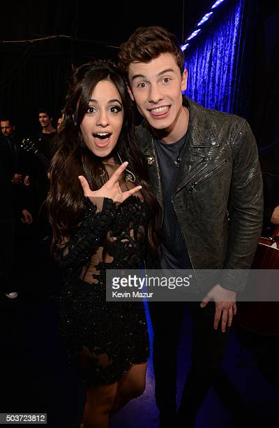 Singers Camila Cabello and Shawn Mendes attend the People's Choice Awards 2016 at Microsoft Theater on January 6 2016 in Los Angeles California