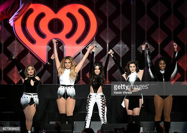 Singers Camila Cabello Dinah Jane Hansen and Lauren Jauregui of Fifth Harmony perform onstage during 1027 KIIS FM's Jingle Ball 2016 presented by...