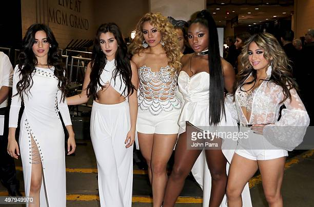 Singers Camila Cabello Lauren Jauregui Dinah Jane Normani Kordei and Ally Brooke of Fifth Harmony attend the 16th Latin GRAMMY Awards at the MGM...