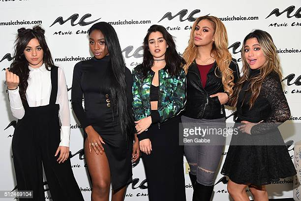 Singers Camila Cabello Normani Hamilton Lauren Jauregui DinahJane Hansen and Ally Brooke of girl group Fifth Harmony visit at Music Choice on...