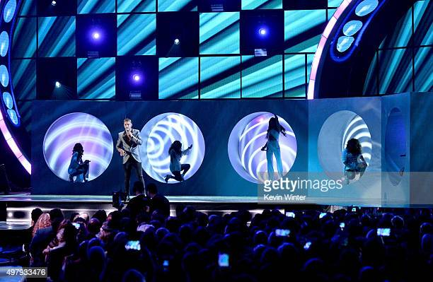 Singers Camila Cabello of Fith Harmony Maluma Ally Brooke Lauren Jauregui Dinah Jane of Fifth Harmony perform onstage during the 16th Latin GRAMMY...