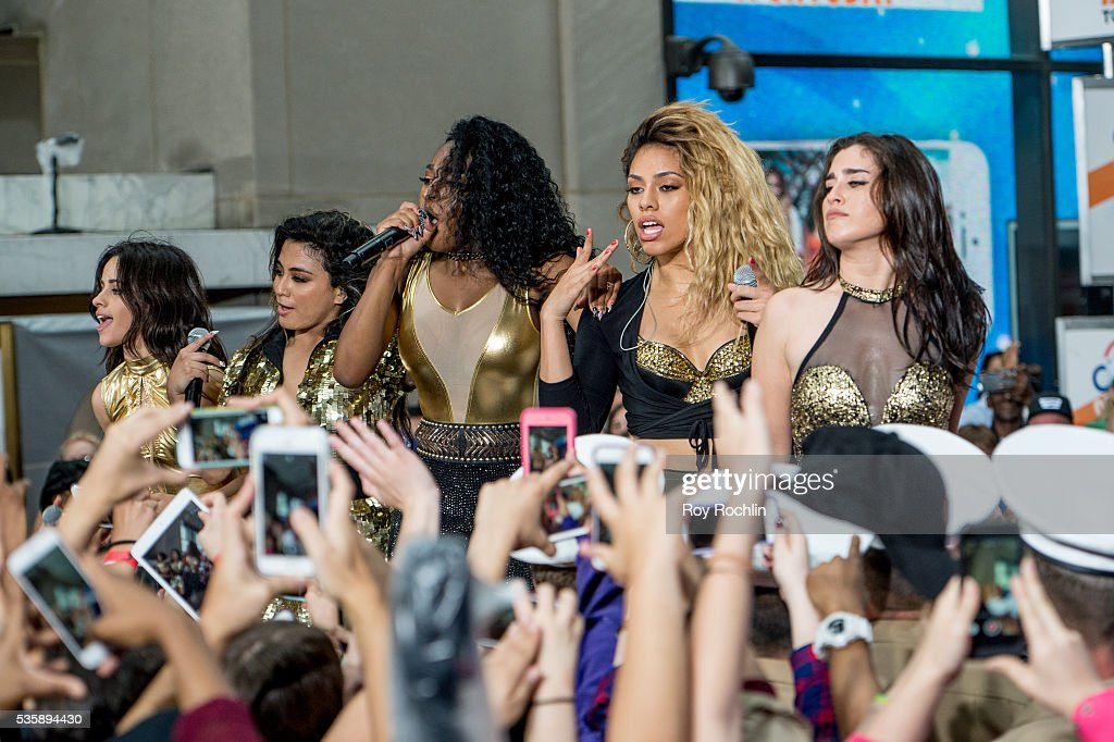 Singers (L-R) Camila Capello, Ally Brooke, Normani Hamilton, Dinah-Jane Hansen and Lauren Jauregui of Fifth Harmony Perform On NBC's 'Today' at Rockefeller Plaza on May 30, 2016 in New York City.