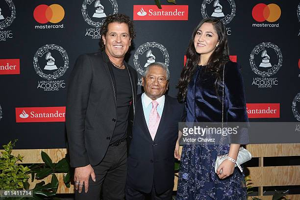 Singers Carlos Vives Armando Manzanero and Mauren attend the Latin Grammy Acoustic Sessions Mexico City 2016 at Casa Del Lago Chapultepec on...