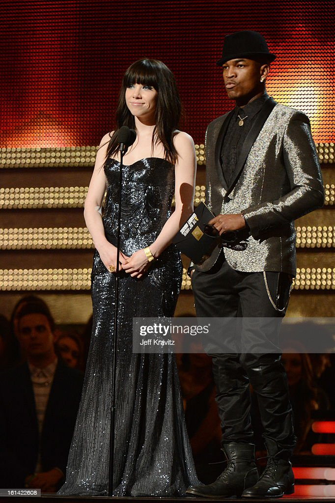 Singers Carly Rae Jepsen and Ne-Yo speak onstage at the 55th Annual GRAMMY Awards at Staples Center on February 10, 2013 in Los Angeles, California.