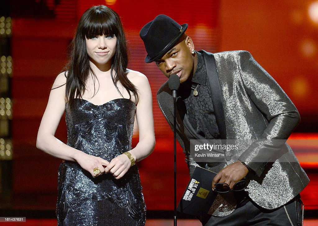 Singers Carly Rae Jepsen and Ne-Yo speak onstage during the 55th Annual GRAMMY Awards at STAPLES Center on February 10, 2013 in Los Angeles, California.