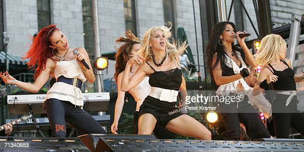 Singers Carmit Bachar Ashley Roberts Nicole Scherzinger Kimberly Wyatt of The Pussycat Dolls perform on ABC's Good Morning America concert series in...
