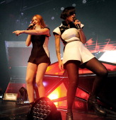 Singers Caroline Hjelt and Aino Jawo of Icona Pop perform at the Henry Fonda Theatre on December 17 2013 in Los Angeles California