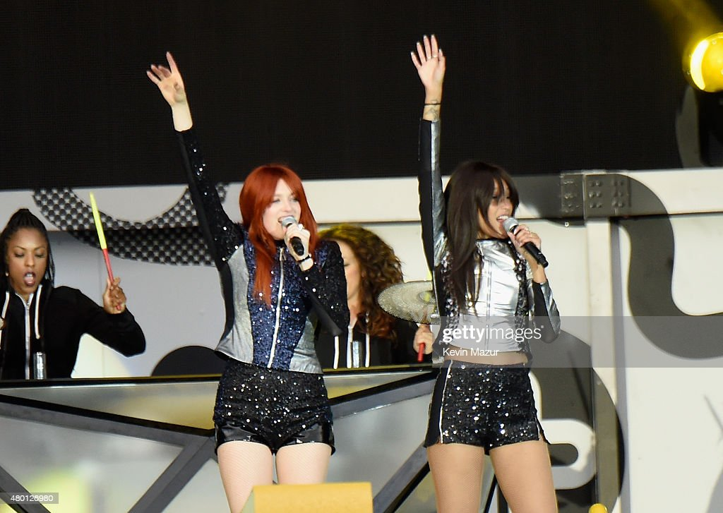Singers Caroline Hjelt and Aino Jawo of Icona Pop perform onstage during One Direction's 'On the Road Again' tour opener at Qualcomm Stadium on July...