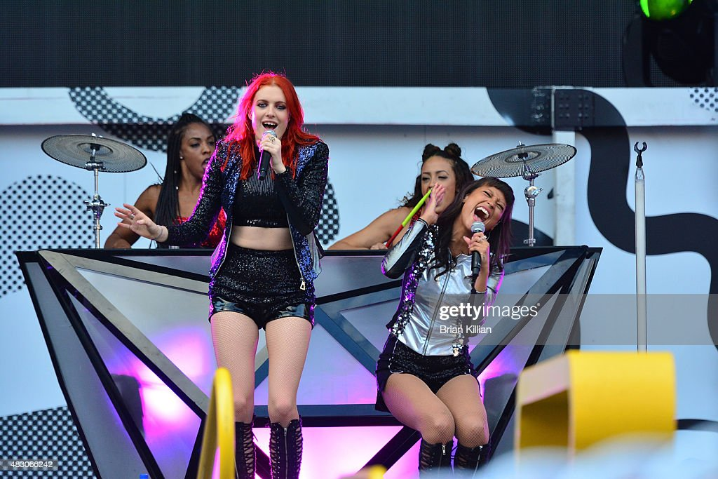 Singers Caroline Hjelt and Aino Jawo of the group Icona Pop perform at MetLife Stadium on August 5 2015 in East Rutherford New Jersey