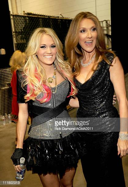 Singers Carrie Underwood and Celine Dion backstage at the 46th Annual Academy Of Country Music Awards held at the MGM Grand Garden Arena on April 3...