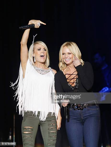 Singers Carrie Underwood and Miranda Lambert perform onstage at the 4th ACM Party for a Cause Festival at the Las Vegas Festival Grounds on April 1...