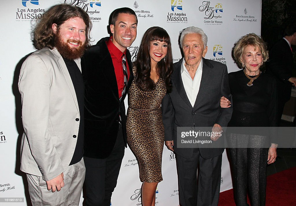 Singers <a gi-track='captionPersonalityLinkClicked' href=/galleries/search?phrase=Casey+Abrams&family=editorial&specificpeople=7534720 ng-click='$event.stopPropagation()'>Casey Abrams</a>, <a gi-track='captionPersonalityLinkClicked' href=/galleries/search?phrase=Ace+Young&family=editorial&specificpeople=540262 ng-click='$event.stopPropagation()'>Ace Young</a> and <a gi-track='captionPersonalityLinkClicked' href=/galleries/search?phrase=Diana+DeGarmo&family=editorial&specificpeople=171338 ng-click='$event.stopPropagation()'>Diana DeGarmo</a>, actor <a gi-track='captionPersonalityLinkClicked' href=/galleries/search?phrase=Kirk+Douglas+-+Actor&family=editorial&specificpeople=13450359 ng-click='$event.stopPropagation()'>Kirk Douglas</a> and wife <a gi-track='captionPersonalityLinkClicked' href=/galleries/search?phrase=Anne+Douglas&family=editorial&specificpeople=243157 ng-click='$event.stopPropagation()'>Anne Douglas</a> attend the Los Angeles Mission's 20th Anniversary Gala for the <a gi-track='captionPersonalityLinkClicked' href=/galleries/search?phrase=Anne+Douglas&family=editorial&specificpeople=243157 ng-click='$event.stopPropagation()'>Anne Douglas</a> Center for Women at the Four Seasons Hotel Los Angeles at Beverly Hills on September 12, 2012 in Beverly Hills, California.