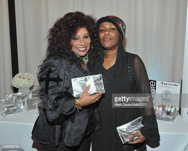 Singers Chaka Khan and Taka Boom pose at the 2011 American Music Awards Gifting Lounge held at the Nokia theater on November 19 2011 in Los Angeles...
