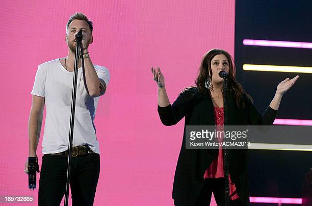 Singers Charles Kelley and Hillary Scott rehearse onstage during the 48th Annual Academy of Country Music Awards at the MGM Grand Garden Arena on...