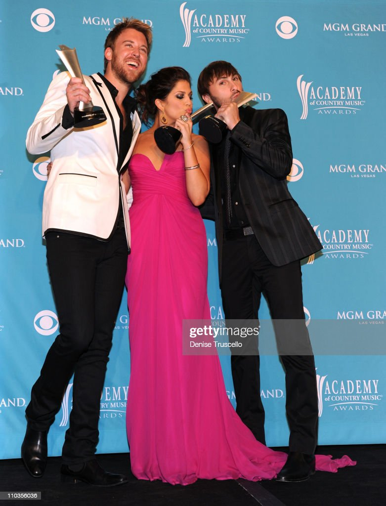 Singers Charles Kelley, Hillary Scott and Dave Haywood of the band Lady Antebellum pose in the press room at the 45th Annual Academy Of Country Music Awards at MGM Grand Garden Arena on April 18, 2010 in Las Vegas, Nevada.