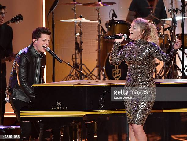 Singers Charlie Puth and Meghan Trainor perform onstage during the 2015 American Music Awards at Microsoft Theater on November 22 2015 in Los Angeles...