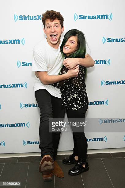Singers Charlie Puth and Phoebe Ryan visits the SiriusXM Studio on April 7 2016 in New York City