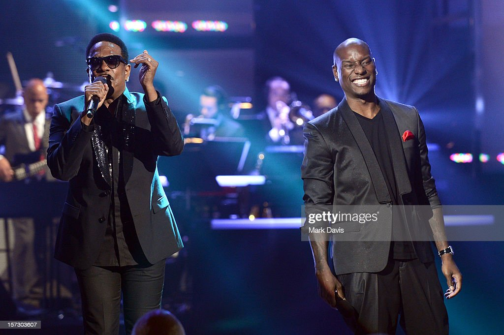 Singers Charlie Wilson and <a gi-track='captionPersonalityLinkClicked' href=/galleries/search?phrase=Tyrese&family=editorial&specificpeople=206177 ng-click='$event.stopPropagation()'>Tyrese</a> perform onstage during UNCF's 33rd annual An Evening Of Stars held at Pasadena Civic Auditorium on December 1, 2012 in Pasadena, California.