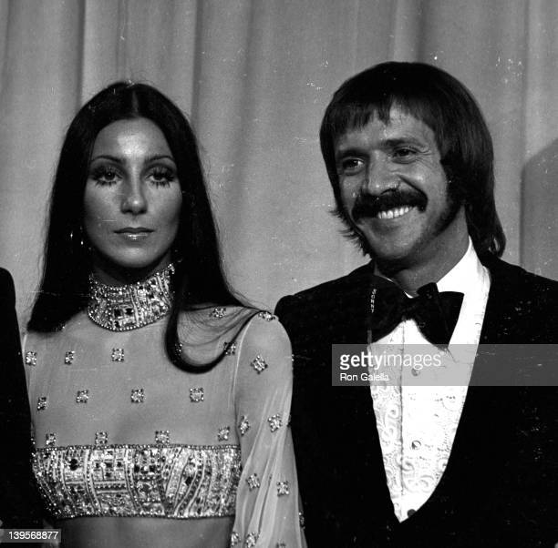 Singers Cher and Sonny Bono attend 45th Annual Academy Awards on March 27 1973 at the Dorothy Chandler Pavilion in Los Angeles California