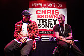 Singers Chris Brown and Trey Songz attend a press conference at House of Blues Sunset Strip on November 10 2014 in West Hollywood California