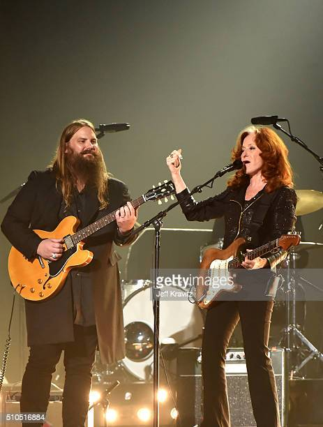 Singers Chris Stapleton and Bonnie Raitt perform a tribute to the late BB King onstage during The 58th GRAMMY Awards at Staples Center on February 15...
