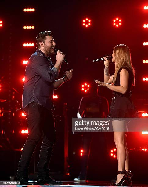 Singers Chris Young and Cassadee Pope rehearse onstage during the 51st Academy of Country Music Awards at MGM Grand Garden Arena on April 1 2016 in...