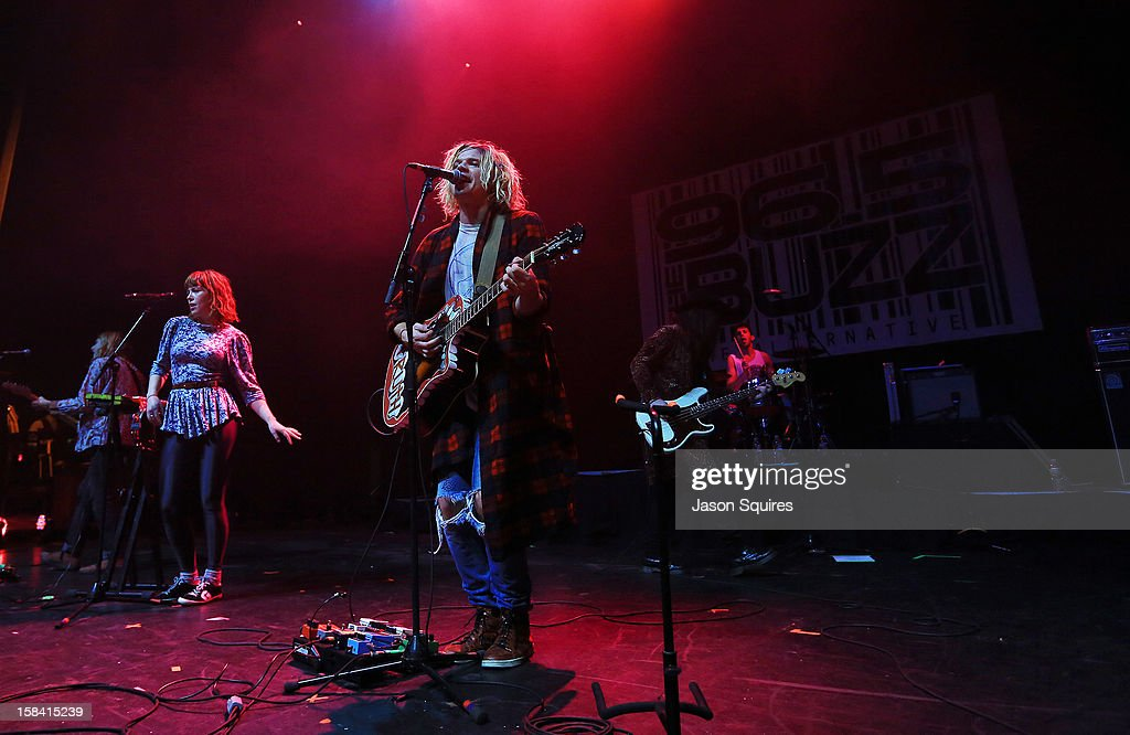 Singers Christian Zucconi and Hannah Hooper of Grouplove perform during The Night The Buzz Stole Christmas at The Midland by AMC on December 15, 2012 in Kansas City, Missouri.