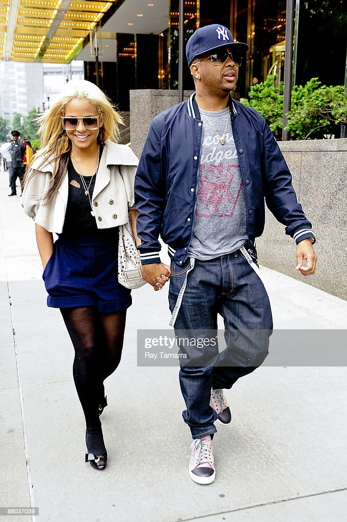 Singers Christina Milian and Terius Youngdell 'The Dream' Nash leave their Midtown Manhattan hotel on May 28 2009 in New York City