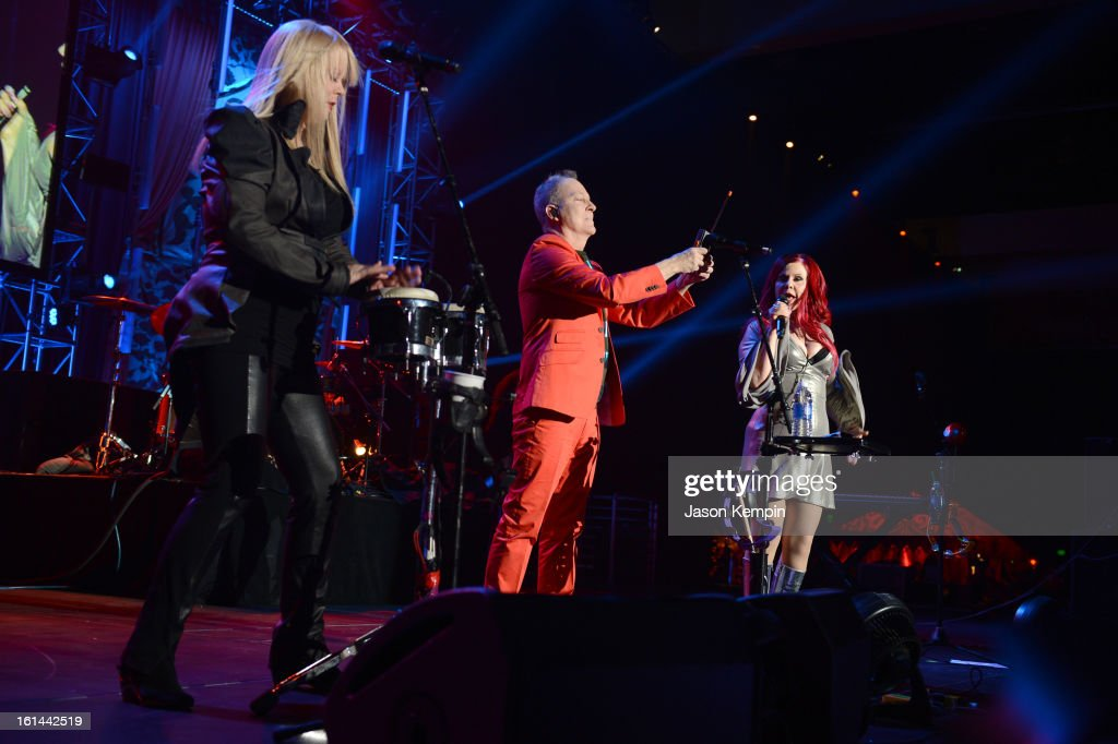 Singers Cindy Wilson, Kate Pierson and Fred Schneider of The B-52s perform at the 55th Annual GRAMMY Awards after party at the Los Angeles Convention Center on February 10, 2013 in Los Angeles, California.