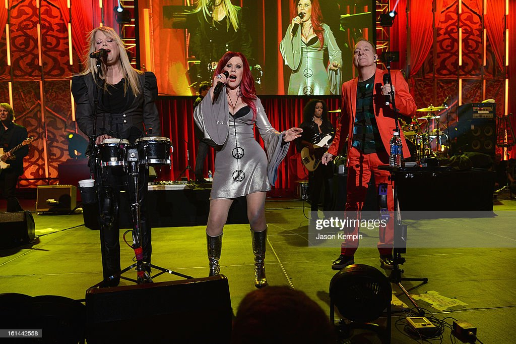 Singers Cindy Wilson, Kate Pierson and Fred Schneider perform at the 55th Annual GRAMMY Awards after party at the Los Angeles Convention Center on February 10, 2013 in Los Angeles, California.