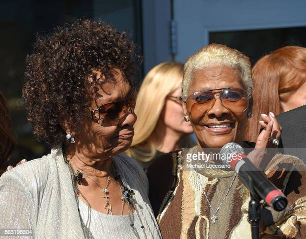 Singers Cissy Houston and niece Dionne Warwick attend the Grammy Museum Experience Prudential Center RibbonCutting Ceremony at Prudential Center on...