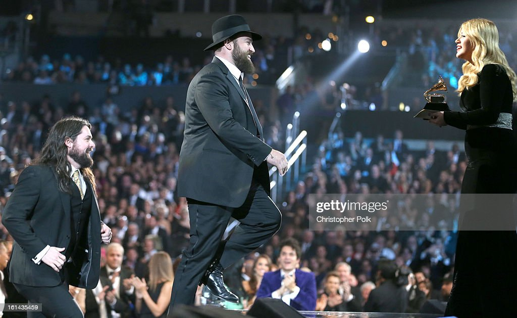 Singers Clay Cook and Zac Brown of the Zac Brown Band and singer Kelly Clarkson appear onstage during the 55th Annual GRAMMY Awards at STAPLES Center on February 10, 2013 in Los Angeles, California.