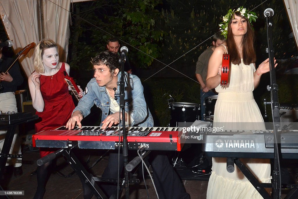 Singers Clemence Quelennec, Marlon Magnee and Clara Luciani of La Femme perform during the Veillee Foodstock Party 2nd Night At MAC/VAL on May 4, 2012 in Vitry sur Seine, France.