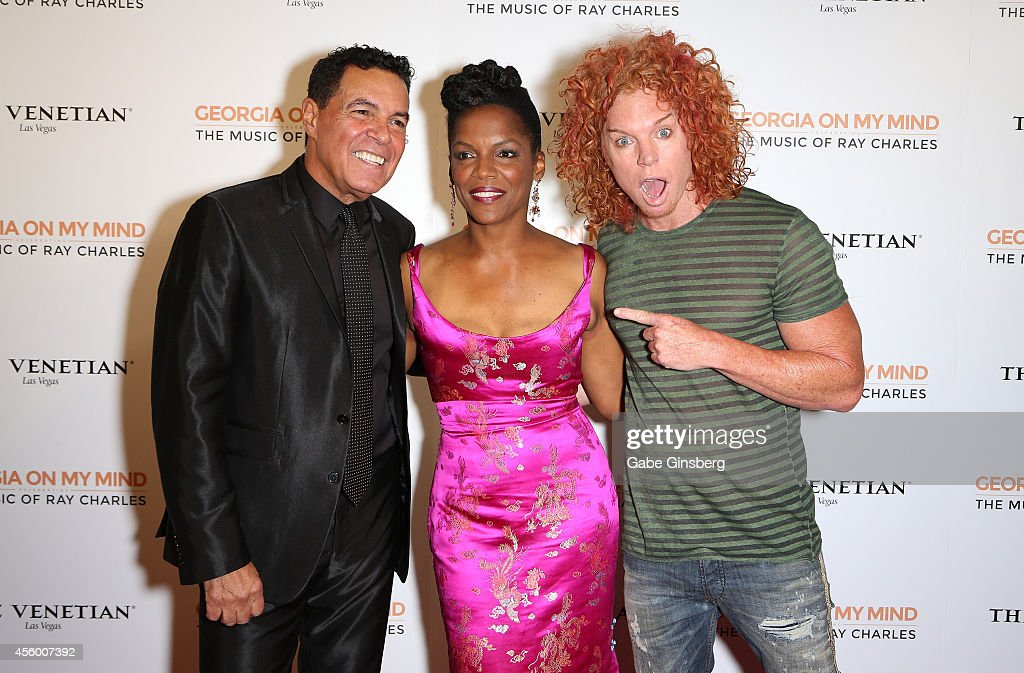 Singers Clint Holmes Nnenna Freelon and comedian Carrot Top arrive at 'Georgia On My Mind Celebrating The Music Of Ray Charles' launch party at The...