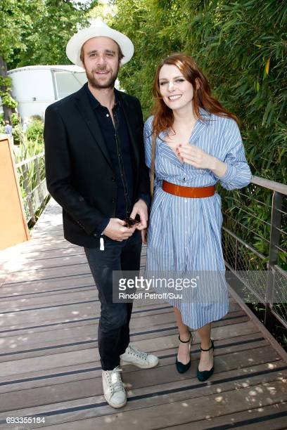 Singers Cyril Mokaiesh and Elodie Frege attend the 2017 French Tennis Open Day Eleven at Roland Garros on June 7 2017 in Paris France