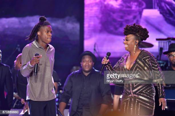 Singers Daniel Caesar and Ledisi perform during the 2017 Soul Train Music Awards at the Orleans Arena on November 5 2017 in Las Vegas Nevada