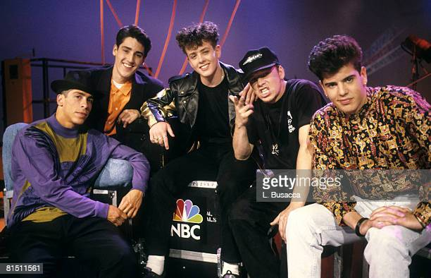 Singers Danny Wood Jonathan Knight Joey McIntyre Donnie Wahlberg and Jordan Knight of New Kids On The Block pose during a circa 1989 interview