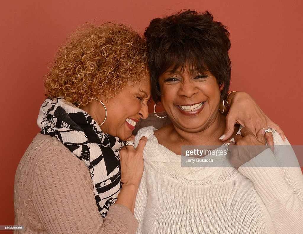 Singers Darlene Love and Merry Clayton pose for a portrait during the 2013 Sundance Film Festival at the Getty Images Portrait Studio at Village at the Lift on January 21, 2013 in Park City, Utah.