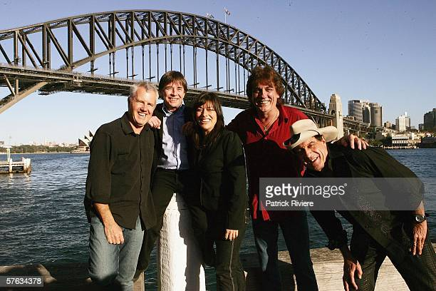 Singers Daryl Braithwaite John Paul Young Ally Fowler Jon English and TV host Ian 'Molly' Meldrum attend the launch for 'The Countdown Spectacular'...