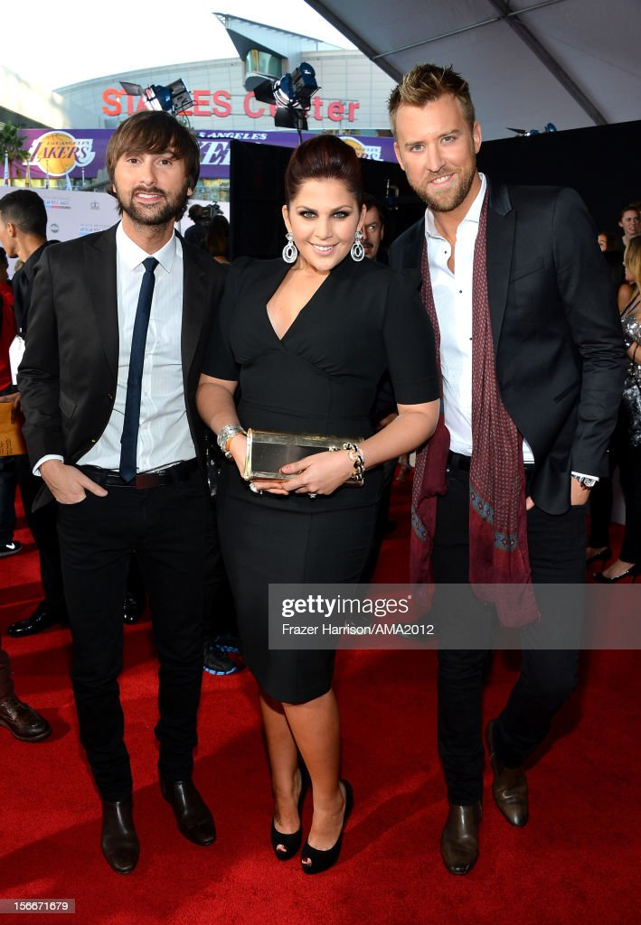 Singers Dave Haywood, Hillary Scott and Charles Kelley of Lady Antebellum attend the 40th American Music Awards held at Nokia Theatre L.A. Live on November 18, 2012 in Los Angeles, California.