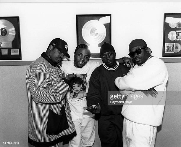 Singers Dave Hollister Teddy Riley Chauncey Black and Levi Little from BLACKstreet poses for photos at WGCIFM studios in Chicago Illinois in June 1994
