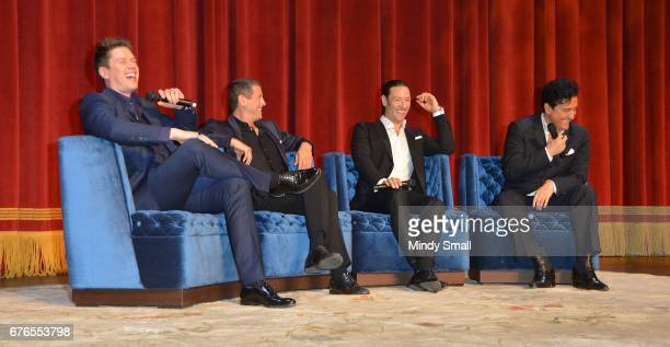 Singers David Miller Sebastien Izambard Urs Buhler and Carlos Marin of Il Divo attend a news conference announcing the group's September sixshow...