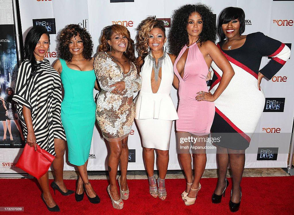 Singers Dawn Robinson, Michel'le, Lil' Mo, Chante Moore, Claudette Ortiz, and Kelly Price attends the series premiere of TV One's 'R&B Divas LA' at The London Hotel on July 9, 2013 in West Hollywood, California.