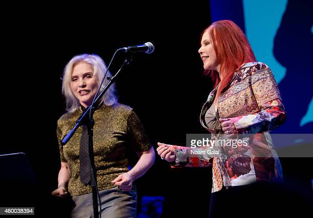 Singers Debbie Harry of Blondie and Kate Pierson of The B52's perform during the 34th Annual John Lennon Tribute Benefit Concert at Symphony Space on...