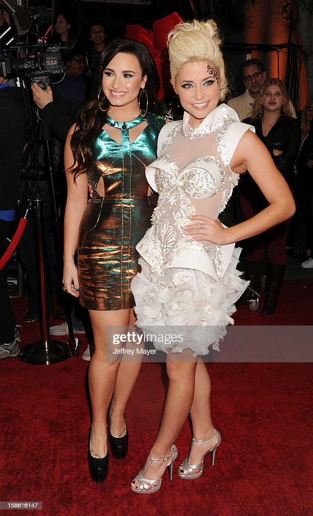 Singers Demi Lovato and CeCe Frey attend the FOX's 'The X Factor' Season Finale - Night 2 at CBS Television City on December 20, 2012 in Los Angeles, California.