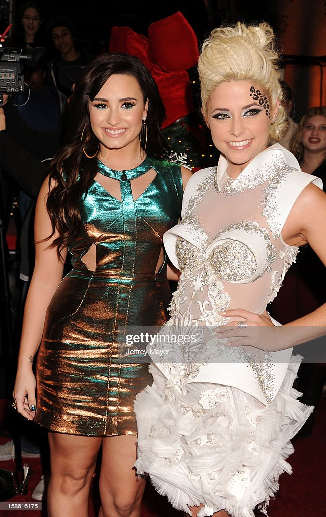Singers Demi Lovato and CeCe Frey attend the FOX's 'The X Factor' Season Finale Night 2 at CBS Television City on December 20 2012 in Los Angeles...